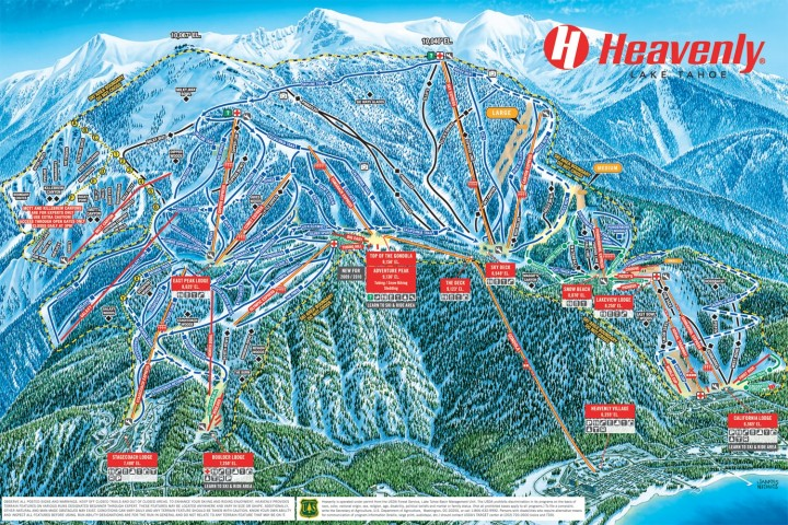 Mapa de pistas de Heavenly Ski Resort