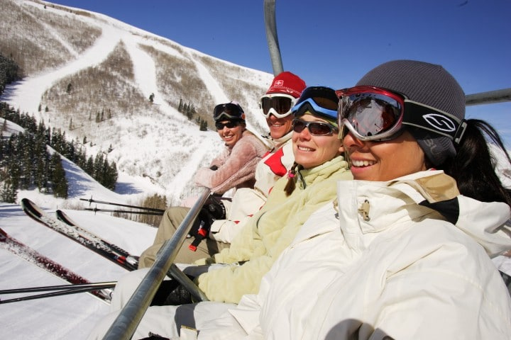 Friends on chairlift