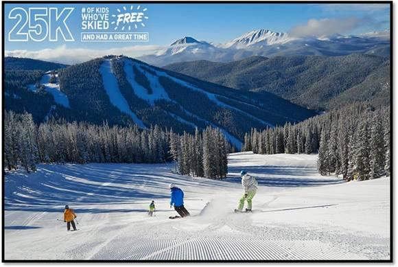 Crianças esquiam de graça durante toda a temporada.